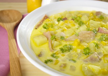 A bowl of corn chowder with bacon, potatoes and chicken.  More soup:-[url=http://www.istockphoto.com/file_search.php?action=file&lightboxID=3666414]here[/url]